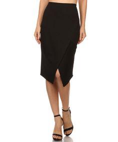 Loving this Black Split Layered-Hem Pencil Skirt on #zulily! #zulilyfinds