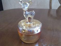 """JEANNETTE MARIGOLD CARNIVAL GLASS """"BAMBI"""" POWDER JAR Made in the 30's - 50's"""