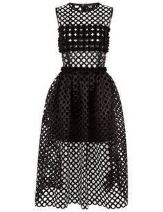 Black Laser-Cut Crepe Dress