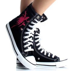 Playboy Bunny Womens High Top Sneakers Skate Shoes Black Lace Up Boots