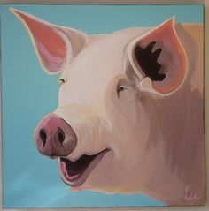 Contemporary Whimsical Pig Painting ... Crazy in love with this.