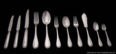 Buy online, view images and see past prices for Tetard - Antique Louis XVI Sterling Silver Flatware Set. Invaluable is the world's largest marketplace for art, antiques, and collectibles. Sterling Silver Flatware, Antique Clocks, Venetian Mirrors, Dinner Sets, Flatware Set, French Antiques, Trays, Dining, Luxury