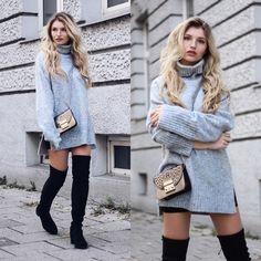 Franziska E. - Overknees + Oversize Sweater