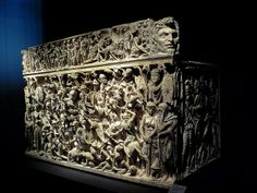 The Portonaccio Sarcophagus. The carving remains to this day an achievement – the dark and light contrast beautifully, a veritable chiaroscuro effect. This skill involved was enormous. The sarcophagus was probably used in the burial of a Roman general who was closely involved in the campaigns of Marcus Aurelius. He is seen on the front of the sarcophagus, frozen forever in a charge against his enemies. Yet the face of the high ranking officer for which the sarcophagus was intended is left…