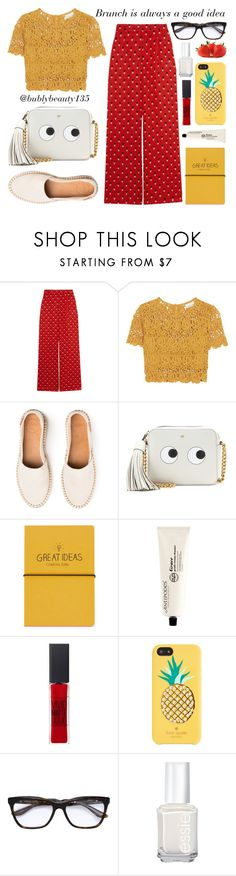 """""""Brunch is always a good idea"""" by bubblybeauty135 ❤ liked on Polyvore featuring Christopher Kane, Miguelina, Anya Hindmarch, Topshop, Maybelline, Kate Spade, Prada and Essie"""