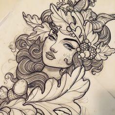 Эскиз татуировки с девушкой, желудями и дубовыми листьями