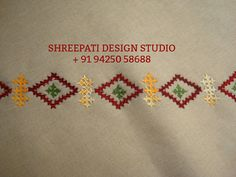 Embroidery Flowers Pattern, Embroidery Saree, Hardanger Embroidery, Indian Embroidery, Flower Patterns, Embroidery Designs, Kutch Work Designs, Hand Work Blouse Design, Lord Ganesha Paintings