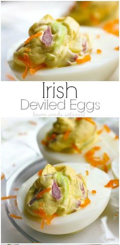 This Irish Deviled Eggs recipe is a St. Patrick's Day appetizer recipe that's a fun twist on the classic corned beef and cabbage. Irish Cabbage Recipe, Cabbage Recipes, Egg Recipes, Brunch Recipes, Dinner Recipes, Yummy Recipes, Breakfast Recipes, Irish Appetizers, St Patrick's Day Appetizers
