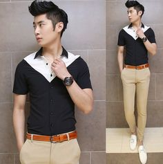Contrast Color 2014 Cool Summer Shirt Slim Men Male Charming Design Casual Fashion Shirts $24.88