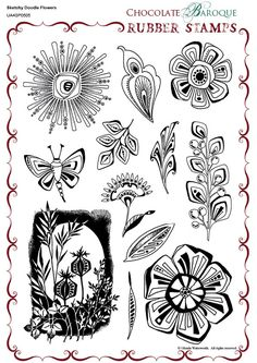 Sketchy Doodle Flowers Rubber stamp sheet - A4