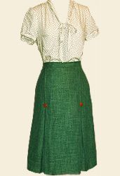 OMG this skirt - 1940's kick-pleat repro in forest marl suiting *drool*