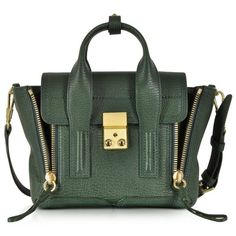 3.1 Phillip Lim Handbags Pashli Mini Satchel w/Shoulder Strap ($660) ❤ liked on Polyvore featuring bags, handbags, jade, mini handbags, man bag, handbag purse, purse pouch and pouch purse