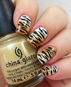 Animal Print Nail Art - Manicure Ideas With Leopard and Animal Print - Good Housekeeping Tiger Nail Art, Animal Nail Art, Great Nails, Simple Nails, Cute Nails, Fancy Nails, Trendy Nails, Hair And Nails, My Nails
