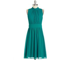 Mid-length Sleeveless A-line Windy City Dress found on Polyvore featuring polyvore, plus size fashion, plus size clothing, plus size dresses, dresses, modcloth, teal, apparel, fashion dress and green