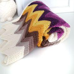 Chevron Crochet Blanket - 1970's inspired- free post | Three Beans in a Pod | madeit.com.au