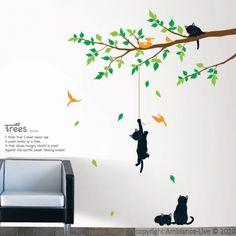 Stickers muraux fleurs - Sticker arbre et chats | ambiance-sticker.com