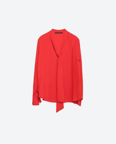 SHIRT WITH TIE-UP NECKLINE-View all-Tops-WOMAN-SALE | ZARA United States