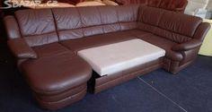 Luxusní rohová rozkládací kožená sedačka - obrázek číslo 1