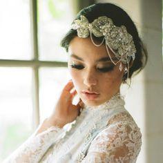 Wedding headpiece bridal headband bridal by EricaElizabethDesign