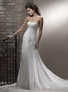 Sheath / Column Sweetheart Chapel Train Chiffon Wedding Dress with Beaded Appliques
