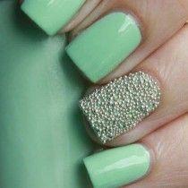Sea foam green and Ciaté nail caviar. #nailart