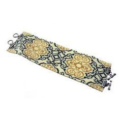 Loom Bead Pattern - Gold Damask Cuff Bracelet