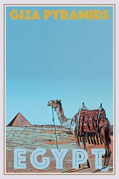 Gyza Pyramids and camel, Egypt - Retro style travel poster - All Posters available in 6 sizes, with or without frame. All prices include shipping to most EU countries. Retro Poster, All Poster, Poster Prints, Pyramids Egypt, Pinturas Disney, Travel Ads, Photo Wall Collage, Custom Posters, Vintage Travel Posters