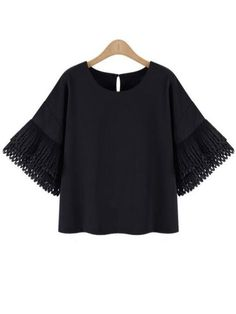 Black Bell Sleeve Buttoned Keyhole Back Chiffon Blouse -SheIn(abaday)