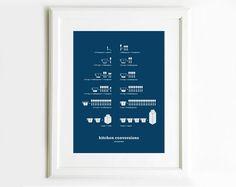 Kitchen Conversions Measurement Poster, Teal blue, Kitchen Art, Kitchen Posters, Kitchen Prints, 13x19