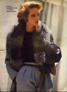 """A More Casual Attitude… A More Sashing Look"", Vogue US, September 1983 Photographer : Arthur ElgortModel : Bonnie Berman"