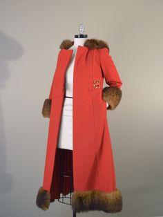 Vintage 1960s Wool Coat // 60s Hooded Coat with Fur Trim // Chic Red Riding Hood Coat. Brass Giraffe Vintage via Etsy.  Art deco inspired. #vintage #etsy