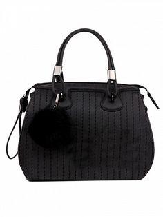Black Buckle Handle Zipper Ball Detail Bag