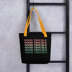 Good Trouble Quotes, Retro Cool Statement / Tote bag - Yellow