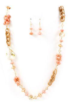 Blush Riley Necklace Set on Emma Stine Limited