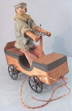 Vintage Antique German Paper Mache Wood Driver Man Doll in Auto Car Pull Toy