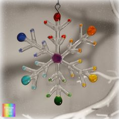 Winter Snowflake Fused Glass Hanging Decoration by Rainbow Lux Glass