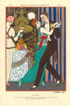 La Danse by George Barbier    Modes et Manières d'Aujourd'hui (1914). Fashion Illustration, Dancing Couple
