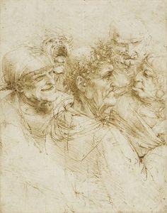Leonardo da Vinci, 1452-1519, Italian, A Man Tricked by Gypsies, c. 1493. Pen and ink on paper, 26 x 20.6 cm. Royal Collection Trust, London. High Renaissance.
