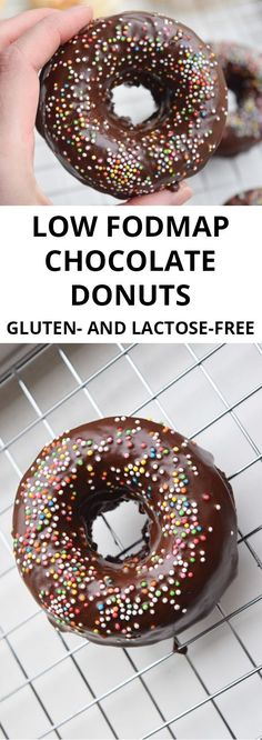 Low FODMAP chocolate donuts – oven-baked (gluten-free, lactose-free) Low-FODMAP chocolate donuts baked in the oven. Gluten free and lactose free. Gluten Free Donuts, Gluten Free Treats, Gluten Free Baking, Gluten Free Desserts, Sans Gluten Ni Lactose, Lactose Free Milk, Dairy Free, Fodmap Dessert Recipe, Fodmap Recipes