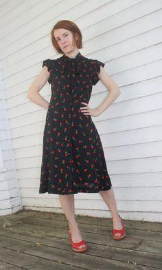 Vintage 70s Black Floral Dress Red Rose Print Casual by soulrust, $19.99