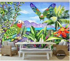 Customized 3d photo wallpaper 3d wall murals wallpaper Multicolored parrots landscape green leaves wall 3d living room wallpaper