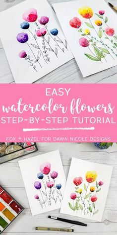 Easy Watercolor Flowers Step by Step Tutorial. Learn how to paint these lovely florals with a detailed step by step lesson from Torrie of Fox + Hazel. drawing easy Easy Watercolor Flowers Step by Step Tutorial Watercolor Flowers Tutorial, Step By Step Watercolor, Watercolour Tutorials, Flower Tutorial, Painting Tutorials, Drawing Tutorials, Watercolour Flowers, Water Colour Painting Tutorial, Watercolour Pencil Art