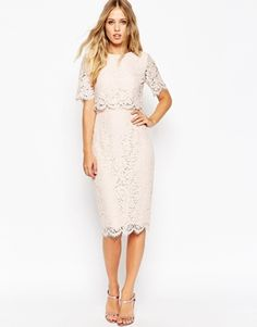 9b184a8160 ASOS Lace Crop Top Midi Pencil Dress Lace Midi Dress