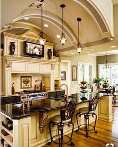 A little French Country anyone? The details in this kitchen are amazing. That ceiling!!!! Credit @pinterest #beautiful #frenchcountry #kitchen #cabinets #ceiling - posted by Marcella Landreth https://www.instagram.com/therealmlandreth59 - See more Luxury Real Estate photos from Local Realtors at https://LocalRealtors.com/stream
