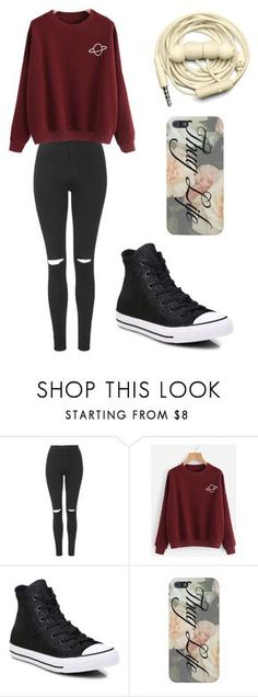 """Outfit"" by andreeadeeix12 ❤ liked on Polyvore featuring Topshop, Converse and Urbanears"