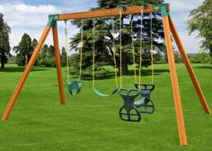 Assemble your own sturdy Wood Swing Set with quick and easy A-frame brackets from Eastern Jungle Gym. Visit us for Wooden Swing Set Accessories & parts. Cedar Swing Sets, Wood Swing Sets, Swing Set Plans, Outdoor Swing Sets, Swing Sets For Kids, Backyard Swing Sets, Diy Swing, Backyard Playground, Backyard Ideas