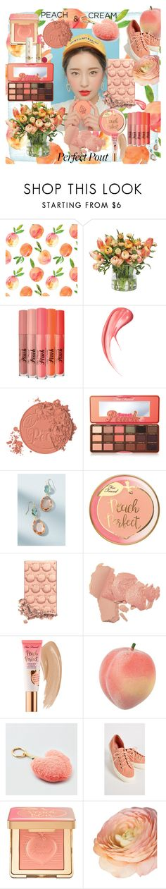"""""""PetitePeach"""" by hyunaluna ❤ liked on Polyvore featuring beauty, Too Faced Cosmetics, Anthropologie, American Eagle Outfitters, Superga and peachlipstick"""