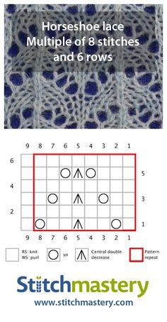 Horseshoe lace - smaller Lace Knitting Patterns Get creative with lace knitting stitches. Lace Knitting Stitches, Lace Knitting Patterns, Knitting Charts, Lace Patterns, Free Knitting, Stitch Patterns, Diy Crafts Knitting, Creative Knitting, How To Purl Knit