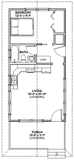 16x32 House -- 511 sq.ft - Small home with a microwave over range, apartment sized fridge, & stacked washer/dryer.