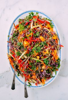 Rainbow Noodle Salad recipe is made with soba noodles, tons of fresh, crisp veggies, and an amazing homemade ginger dressing made with citrus juice.